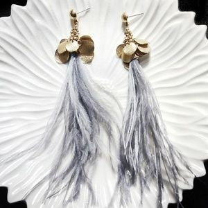 Jewelry - Gold & Gray Feather Earrings